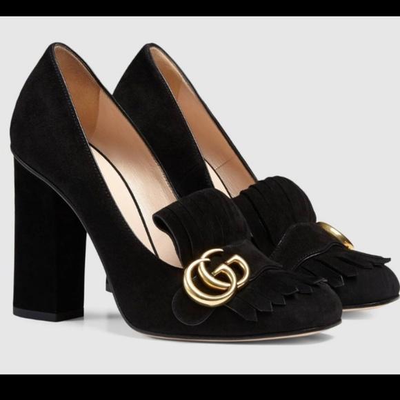844c5bb8197 Gucci Shoes - Gucci Marmont Block Heel Black Suede Pump